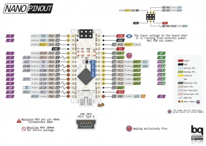 Arduino nano Ардуино нано распиновка подключение